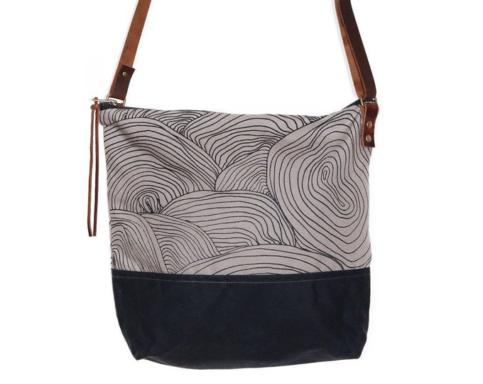 Waxed Canvas Crossbody Shoulder Bag - Grey Canvas with Black Waxed Canvas and Adjustable Leather Strap