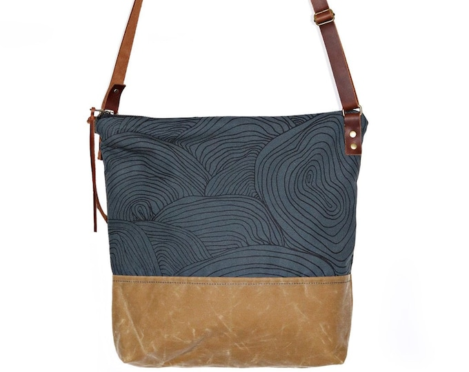 Waxed Canvas Crossbody Shoulder Bag - Slate Canvas with Sable Waxed Canvas and Adjustable Leather Strap