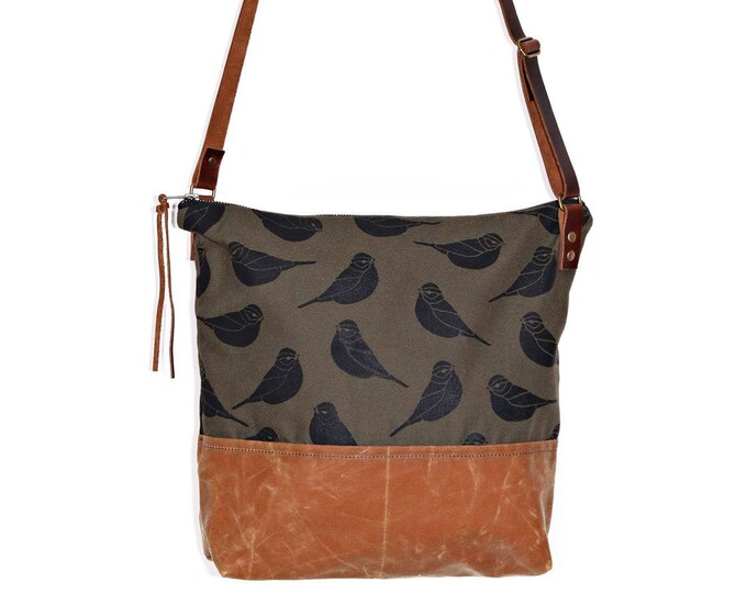 Waxed Canvas Crossbody Shoulder Bag - Woodland Canvas with Fawn Waxed Canvas and Adjustable Leather Strap