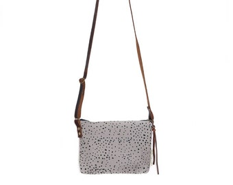 Mini Waxed Canvas Crossbody Belt Bag with Built-In Wallet - Grey Canvas with Chocolate Waxed Canvas