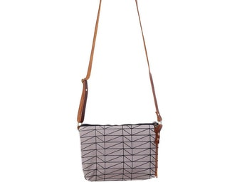 Mini Waxed Canvas Crossbody Bag with Built-In Wallet and Adjustable Leather Strap  - Grey Canvas with Architectural Line Pattern