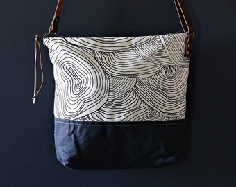 Waxed Canvas Crossbody Bag - Abstract Circle Pattern on Clay Canvas with Black Waxed Canvas and Adjustable Leather Strap