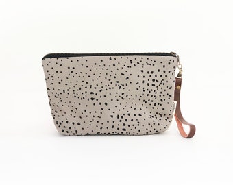 New!  Sketch Polka Dot Waxed Canvas Clutch Bag with Leather Wristlet Strap