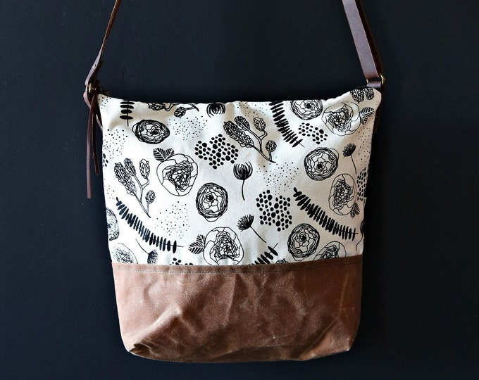 Waxed Canvas Crossbody Bag - Flora and Fauna Pattern on Clay Canvas with Whiskey Waxed Canvas and Adjustable Leather Strap