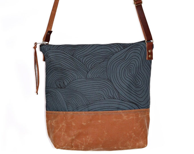 Waxed Canvas Crossbody Bag - Abstract Circle Pattern on Slate Canvas with Whiskey Waxed Canvas and Adjustable Leather Strap