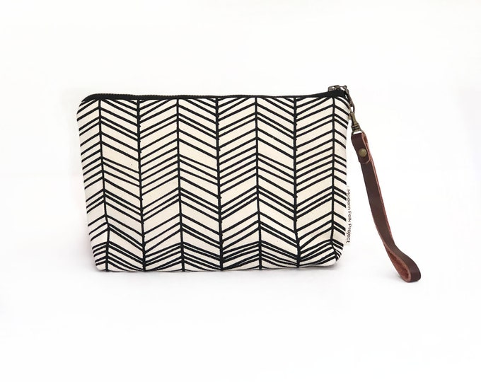 New!  Herringbone Waxed Canvas Wallet Clutch Bag with Leather Wristlet Strap
