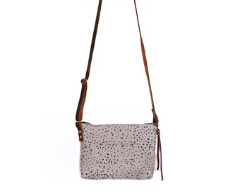 Mini Waxed Canvas Crossbody Bag - Grey Canvas with Sketch Dot Pattern with Built-In Wallet and Adjustable Leather Strap