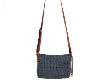Mini Waxed Canvas Crossbody Bag - Slate Canvas with Architectural Line Pattern with Built-In Wallet and Adjustable Leather Strap