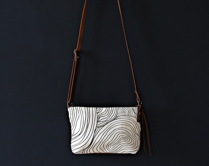 Mini Waxed Canvas Crossbody Bag - Clay Canvas with Abstract Circle Pattern with Built-In Wallet and Adjustable Leather Strap