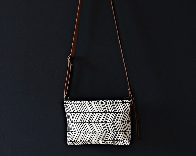 Mini Waxed Canvas Crossbody Bag - Clay Canvas with Herringbone Pattern with Built in Wallet and Adjustable Leather Strap