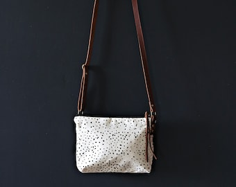 Mini Waxed Canvas Crossbody Bag - Clay Canvas with Sketch Dot Pattern with Built-In Wallet and Adjustable Leather Strap