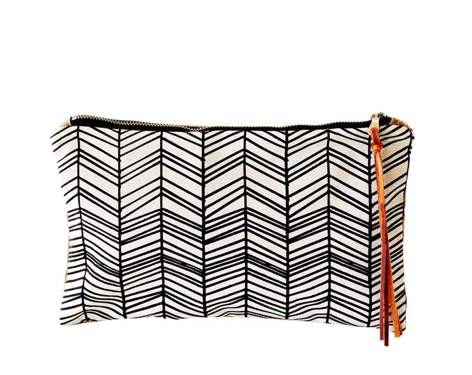 Waxed Canvas Zipper Pouch Clutch with Leather Fringe - Herringbone Line Pattern on Natural Canvas