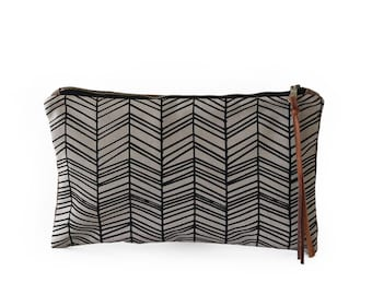 Waxed Canvas Zipper Pouch Clutch with Leather Fringe - Herringbone Line Pattern on Grey Canvas