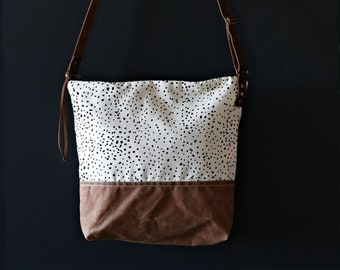 Waxed Canvas Crossbody Bag - Sketch Dot Pattern on Clay Canvas with Whiskey Waxed Canvas and Adjustable Leather Strap