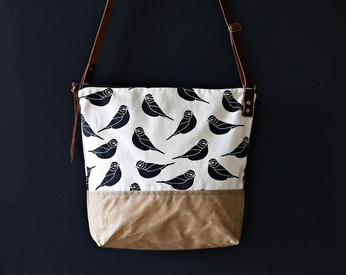 Waxed Canvas Crossbody Bag - Sparrow Pattern on Clay Canvas with Sable Waxed Canvas and Adjustable Leather Strap