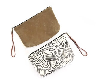 Minimalist Wallet Clutch - Natural Canvas with Fawn Waxed Canvas and Removable Leather Wristlet Strap