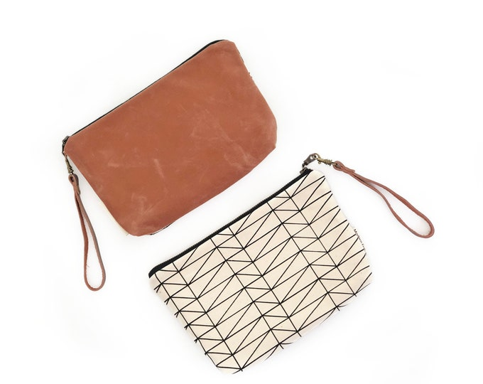 Minimalist Wallet Clutch with Waxed Canvas and Removable Leather Wristlet Strap