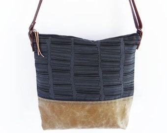 Waxed Canvas Crossbody Shoulder Bag with Adjustable Leather Strap