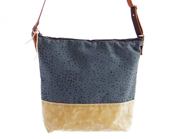 Waxed Canvas Crossbody Bag | Sketch Polka Dot Pattern on Slate Canvas with Sable Waxed Canvas | Adjustable Leather Strap | Diaper Bag