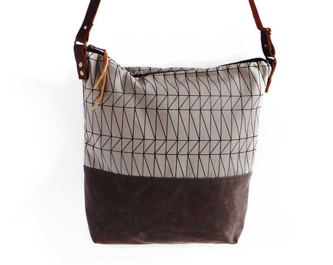 Waxed Canvas Crossbody Bag - Grey with Chocolate Waxed Canvas and Adjustable Leather Strap