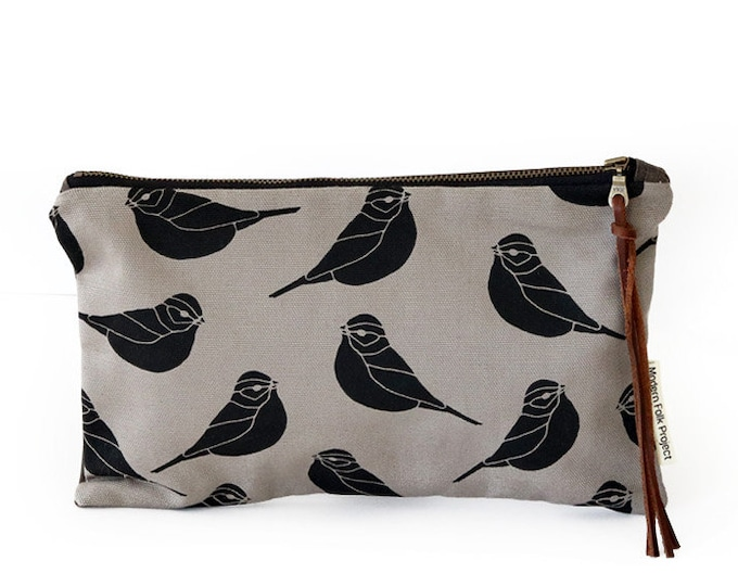 Waxed Canvas Zipper Pouch Clutch with Leather Fringe - Sparrow Pattern on Grey Canvas
