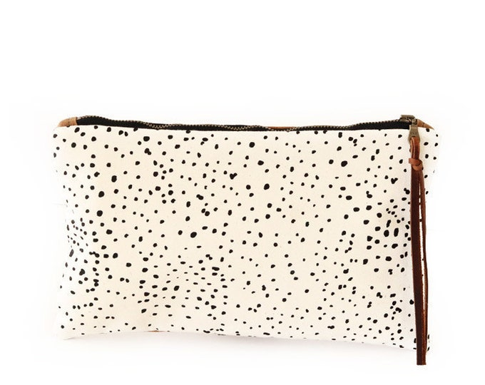 Waxed Canvas Zipper Pouch Clutch with Leather Fringe - Sketch Dot Pattern on Natural Canvas