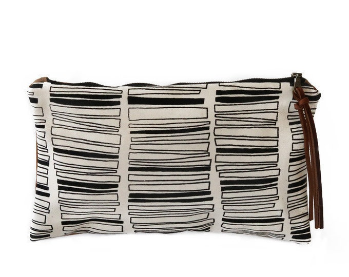 Waxed Canvas Zipper Pouch Clutch with Leather Fringe - Stacked Rectangle Pattern on Natural Canvas