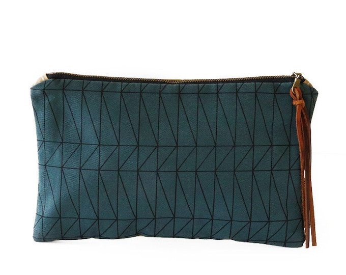 Waxed Canvas Zipper Pouch Clutch with Leather Fringe - Architectural Line Pattern on Slate Canvas