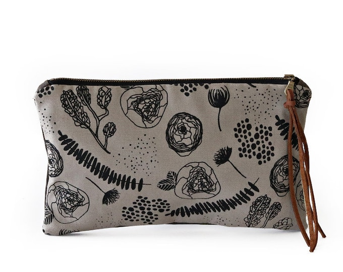Waxed Canvas Zipper Pouch Clutch with Leather Fringe - Flora and Fauna Pattern on Grey Canvas