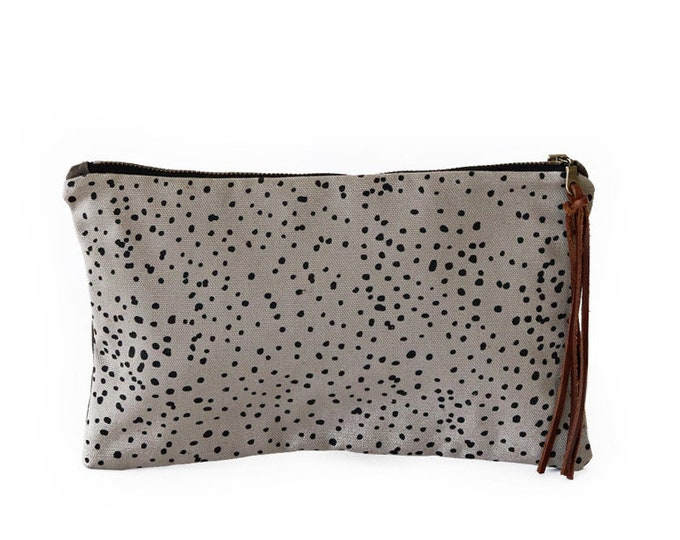 Waxed Canvas Zipper Pouch Clutch with Leather Fringe - Sketch Dot Pattern on Grey Canvas