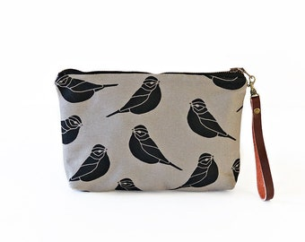 Waxed Canvas Wristlet Pouch - Sparrow Pattern on Grey