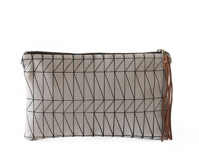 Waxed Canvas Zipper Pouch Clutch with Leather Fringe - Architectural Line Pattern on Grey Canvas