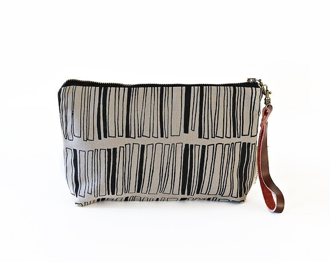 Waxed Canvas Wristlet Pouch - Stacked Rectangle Pattern on Grey
