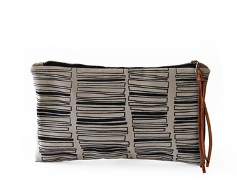 Waxed Canvas Zipper Pouch Clutch with Leather Fringe - Stacked Rectangle Pattern on Grey Canvas