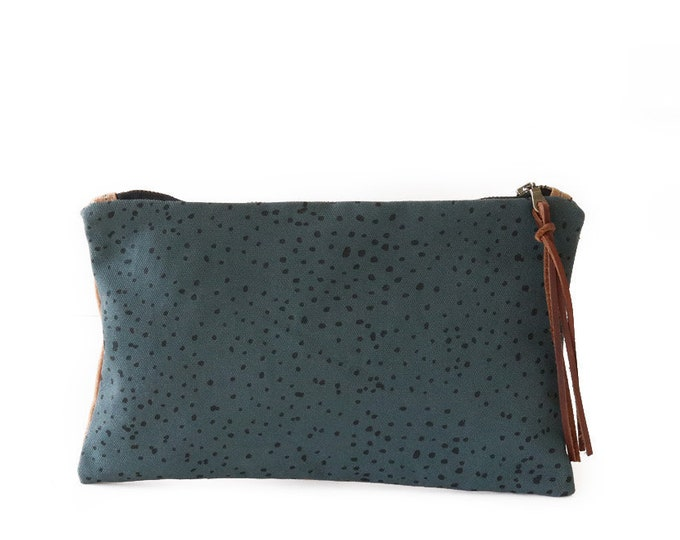 Waxed Canvas Zipper Pouch Clutch with Leather Fringe - Sketch Dot Pattern on Slate Canvas