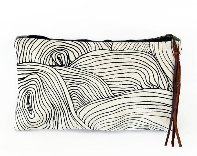 Waxed Canvas Zipper Pouch Clutch with Leather Fringe - Abstract Circle Pattern on Natural Canvas