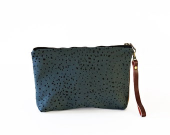 Waxed Canvas Wristlet Pouch - Sketch Dot on Slate