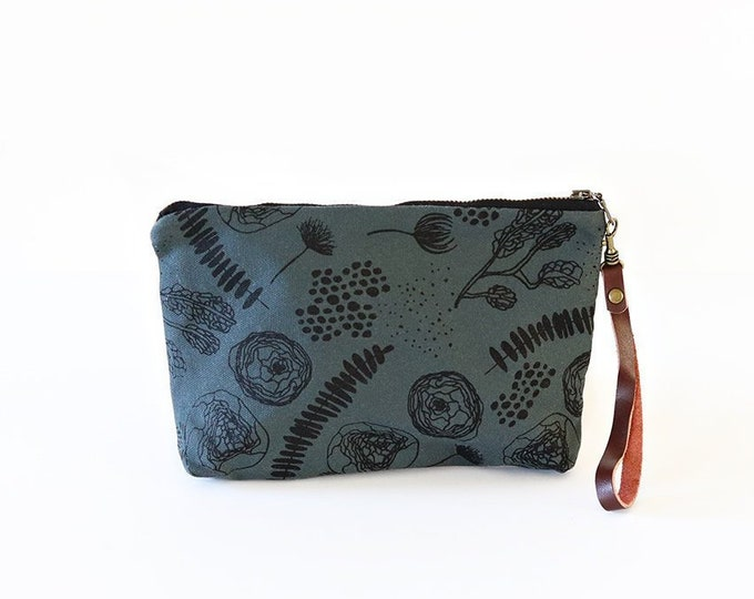 Waxed Canvas Wristlet Pouch - Flora and Fauna on Slate