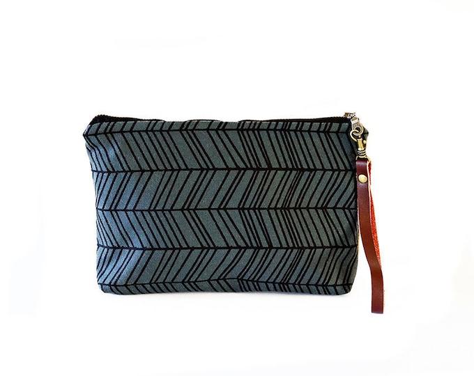 Waxed Canvas Wristlet Pouch - Herringbone Pattern on Slate