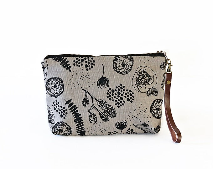 Waxed Canvas Wristlet Pouch -  Flora and Fauna Pattern on Grey