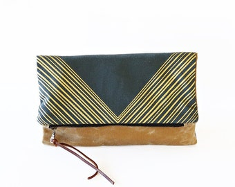Reversible Waxed Canvas Foldover Clutch | Gold Triangle Pattern with Whiskey Waxed Canvas | Optional Crossbody Strap