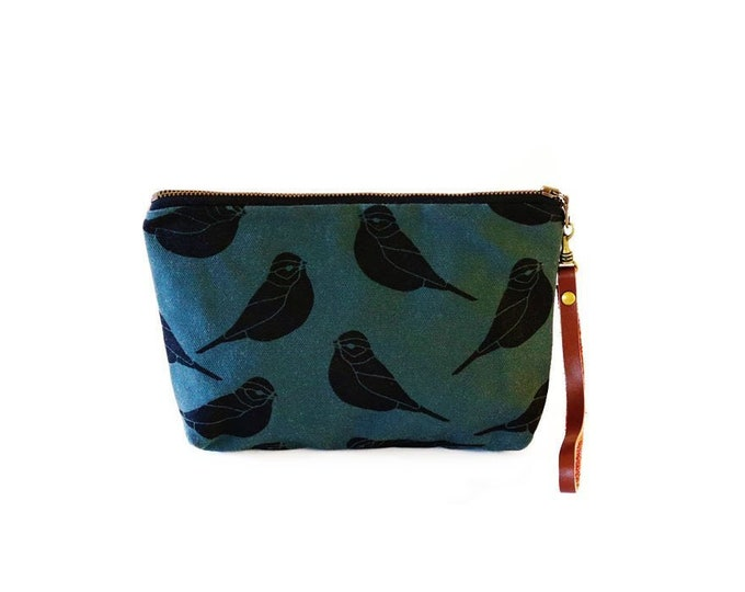 Waxed Canvas Wristlet Pouch | Removable Leather Strap | Sparrow Pattern on Slate
