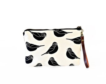 Waxed Canvas Wristlet Pouch - Sparrow Pattern on Clay