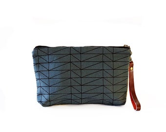 Waxed Canvas Wristlet Pouch - Architectural Line Pattern on Slate