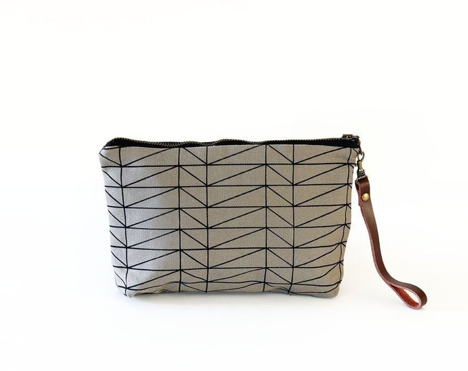 Waxed Canvas Wristlet Pouch - Architectural Line Pattern on Grey