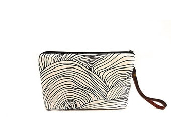 Waxed Canvas Wristlet Pouch - Abstract Circle Pattern on Clay