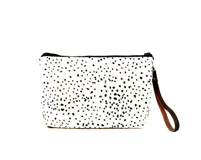 Waxed Canvas Wristlet Pouch - Sketch Dot on Clay