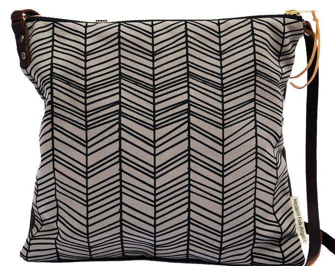 Adjustable Crossbody Bag - Chocolate Waxed Canvas with Herringbone Pattern