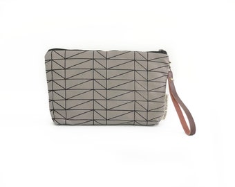 New!  Architectural Line Waxed Canvas Wallet Clutch Bag with Leather Wristlet Strap