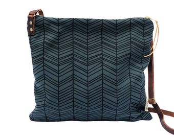 Medium Waxed Canvas Crossbody Bag with Adjustable Strap - Slate with Herringbone